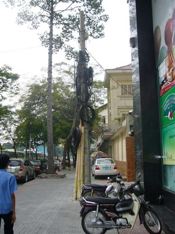 The famous Saigon rats nest cables are being cut down